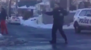 Cop Pulls a Gun in a Snowball Fight
