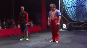 Volunteer Gets Knocked Out By Clown On Stage