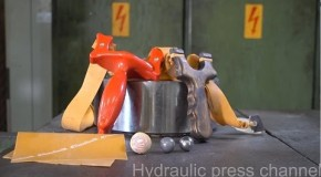 Crushing slingshots, lead ball and bearing ball with hydraulic press