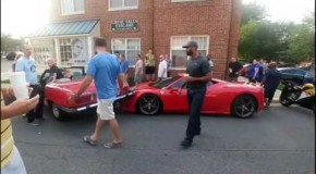 Woman backs into rare Ferrari at local Car meet today