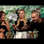 Cara Delevingne uses her nipple detecting skills on Margot Robbie and Karen Fukuhara during interview.