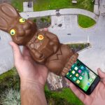 An iPhone And Chocolate Easter Bunny Experiment