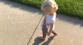 Adorable Little Girl Tries To Get Rid Of Her Shadow