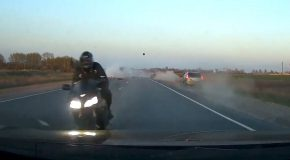 Two Bikers Crash Head First Into Oncoming Traffic