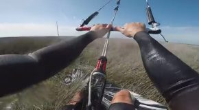 First Person Footage of Pro Kiteboarder Doing Tricks