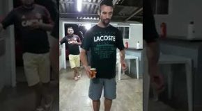 Guy Does Backflip, In Sandals, Without Spilling His Beer