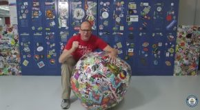 Sets Guinness World Record for Largest Ball of Stickers