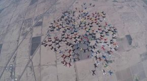 Skydivers Set World Record for a Formation Skydive Over Eloy