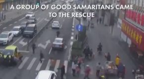 Crowd Gathers To Lift Car Off Trapped Boy!