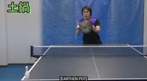 Expert Ping Pong Player Lobbies Back Balls With Different Items
