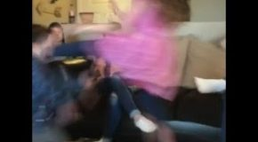 Little Sister K.O.'s Brother With A Savage Dropkick