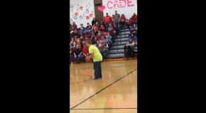Teen With Down Syndrome Nails A Backwards Half Court Shot!