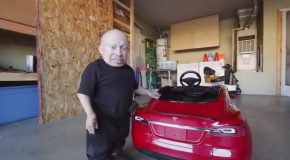 Verne Troyer Unboxes and Test Drives His New Mini Tesla