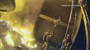 Fireman Catches Child From Burning Building