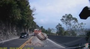 Falling Boulder Nearly Hits Multiple Cars