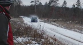 Rally Car Slides into Unsuspecting Onlooker, Launches Him into Air