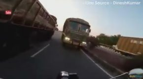 Biker Saved by Luck From Crashing