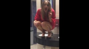 S@xy Blonde Dances On Bathroom Counter Before Busting Her A**