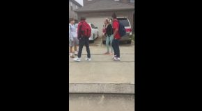 Crazy White Lady Screamin at Some Teens