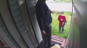 Merciful Homeowners Catch a Package Thief At Their Door