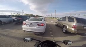 Motorcyclist Has a Close Call
