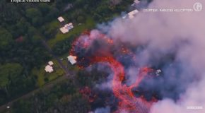 Scary Footage of Volcanic Lava Destroying Homes in Hawaii