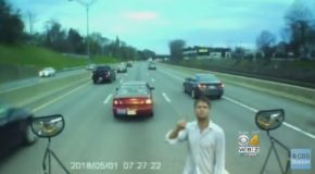 Unhinged Idiot Stops Bus in the Middle of the Highway to Ask a Stupid Question