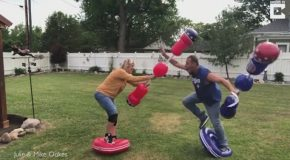 Hilarious Marriage Therapy With Inflatable Gladatior Fight