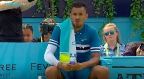 Nick Kyrgios Inappropriate Gesture At Queen's