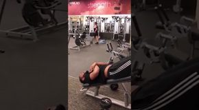 Funny Guy in the Gym Doing Unknown Workout