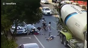 Helmet Saves Scooter Driver's Life After She is Run Over by A Cement Tanker 2