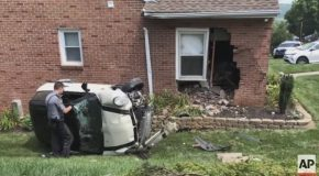 Police : Man Flees Officer, Crashes into Home