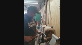 Woodshop Teacher Gets Battered In The Face From Lathe Accident