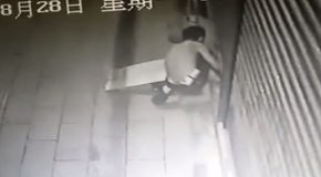 Thief Caught In The Act Has Foot Trapped In Door