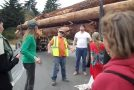 Driver Pulls Protester off of Log Truck