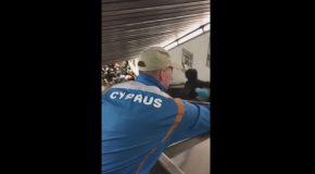 People Tumble Down Escalator After it Collapses Under the Weight Soccer Fans