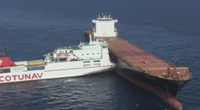 Two Massive Freight Ships Collided at Open Sea