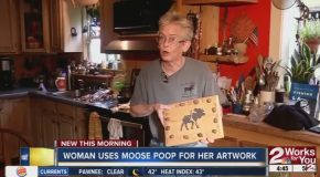 Woman Uses Moose P##p For Artwork