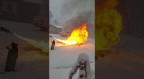 Flamethrower for Fast Snow Removal