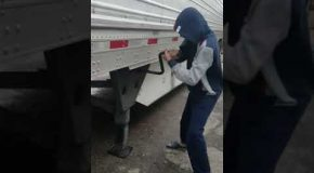 Semi Driver Shows Newbie the Ropes