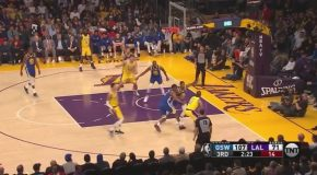 Stephen Curry Slips on a Dunk Attempt