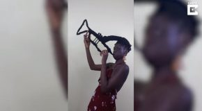 Woman Uses Her Hair For Artistic Expression