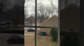 Woman Records a Lightning Strike that Scares the Crap Out of Her