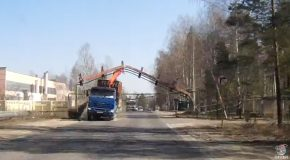 Crane Truck Takes out Overhead Structure