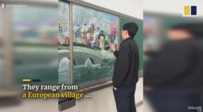 Chinese Teacher's Beautiful Blackboard Art Wows Millions Online