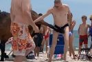 Guy in Mankini Gets Kicked in the Balls by a Horse He's Pestering