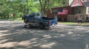 Truck and Flag Fly High