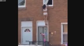 Woman Hides From Her Lover's Wife By Jumping Out of Window