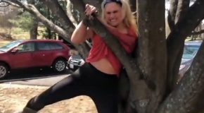 Girl Gets Stuck In Tree Because Of B@@bs