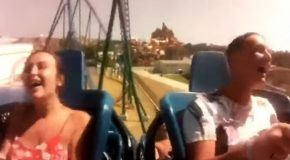 Girl's Flimsy Blouse Can't Handle This Rollercoaster Ride